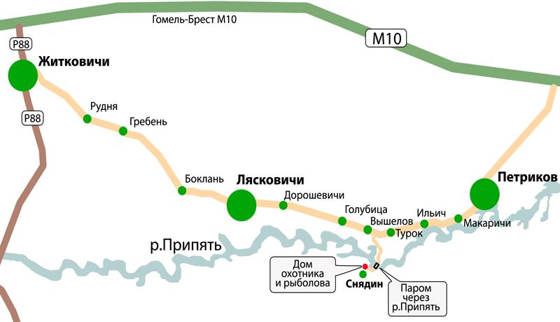 Схема проезда к домику охотника и рыбака в Снядине